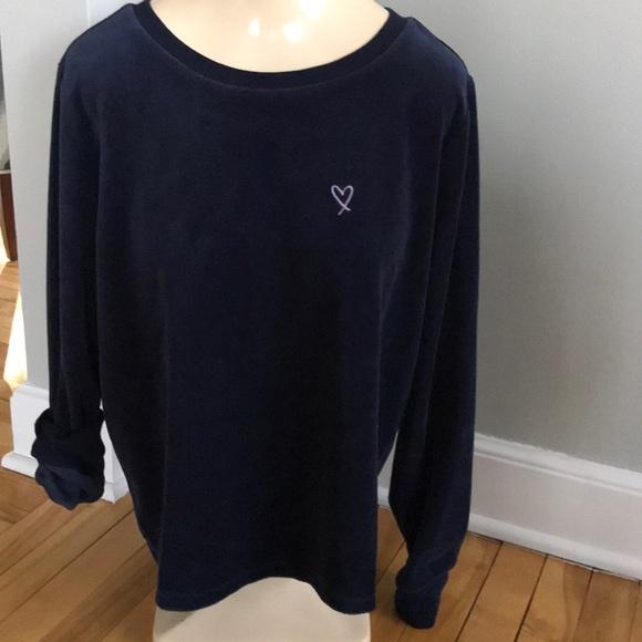 6bdb26b67c4506 Victoria's Secret Tops   Vs Navy Velour Sweatshirt Open Back Nwt ...